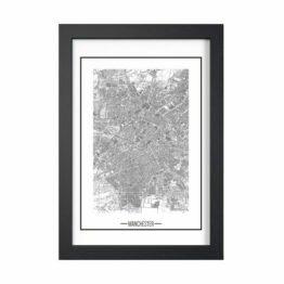 plakat z mapą miasta Manchester